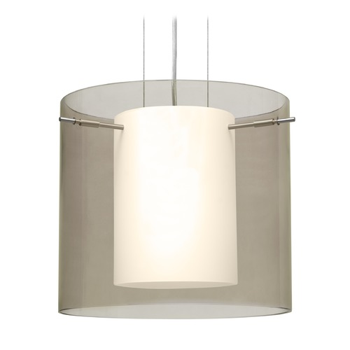 Besa Lighting Besa Lighting Pahu Satin Nickel Pendant Light with Drum Shade 1KG-S18407-SN