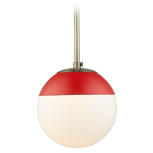 Golden Lighting Golden Lighting Dixon Aged Brass Mini-Pendant Light with Globe Shade and Red Accent 3218-SAB-RED