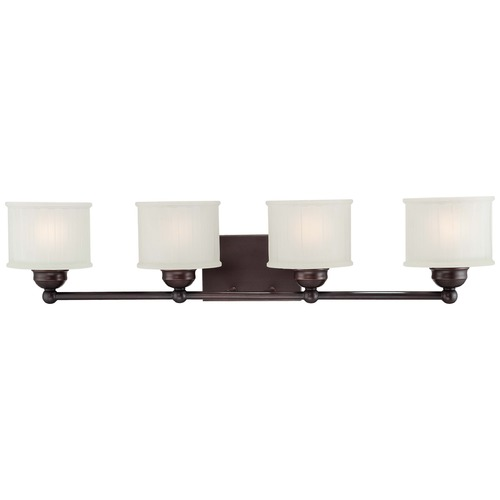 Minka Lavery Modern Bathroom Light with White Glass in Lathan Bronze Finish 6734-167