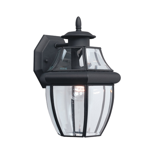 Sea Gull Lighting Outdoor Wall Light with Clear Glass in Black Finish 8038-12