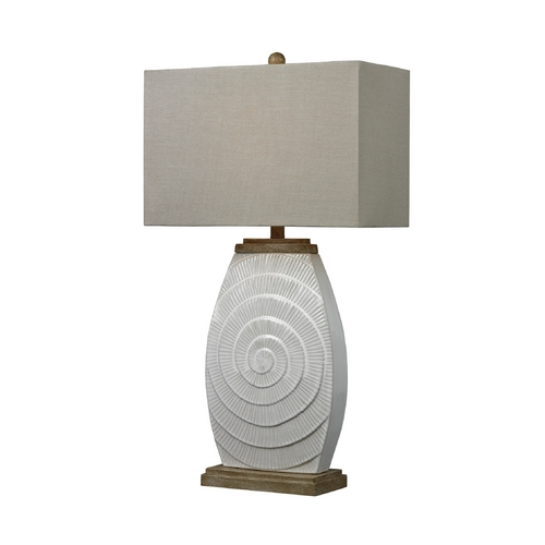 Dimond Lighting Table Lamp in Sand Finish with Wood Tones and Rectangle Shade D250