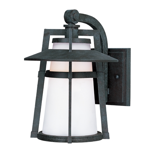 Maxim Lighting Outdoor Wall Light with White Glass in Adobe Finish 3536SWAE