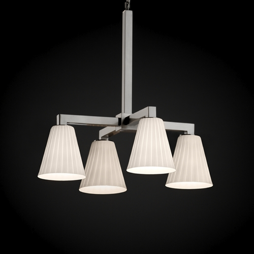 Justice Design Group Justice Design Fusion 4-Light Chandelier in Brushed Nickel FSN-8920-50-RBON-NCKL