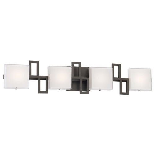 George Kovacs Lighting Modern LED Bathroom Light with White Glass in Bronze Finish P5314-467B-L