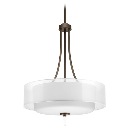 Progress Lighting Drum Pendant Light with White Glass in Antique Bronze Finish P5047-20