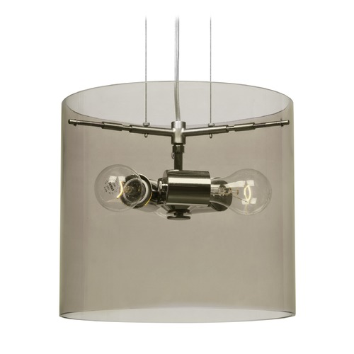 Besa Lighting Besa Lighting Pahu Satin Nickel Pendant Light with Drum Shade 1KG-S18407-SN-NI