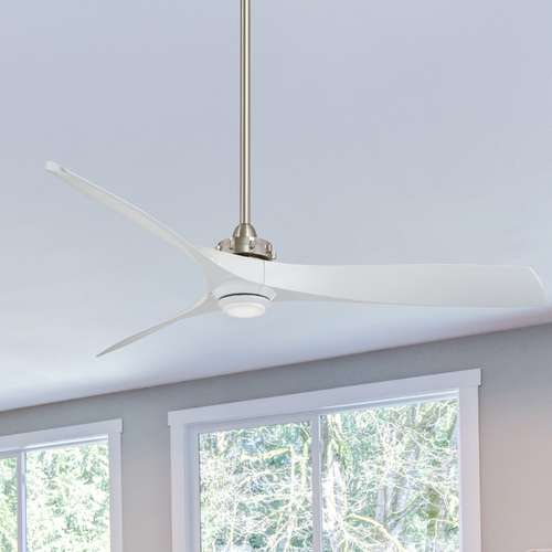 Minka Aire 60-Inch Minka Aire Aviation Brushed Nickel LED Ceiling Fan with Light F853L-BN/WH