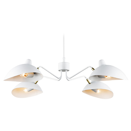 Matteo Lighting Matteo Lighting Droid White / Brushed Gold Pendant Light with Bowl / Dome Shade C57904WH