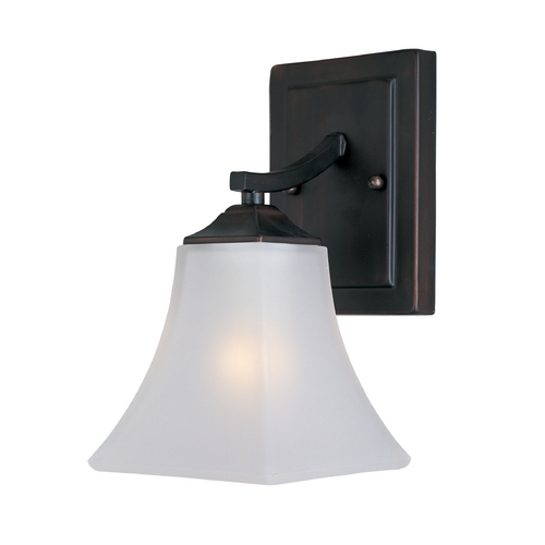 Maxim Lighting Modern Sconce Wall Light with White Glass in Oil Rubbed Bronze Finish 20098FTOI