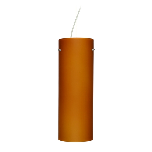Besa Lighting Modern Pendant Light with Amber Glass in Satin Nickel Finish 1KX-412880-SN
