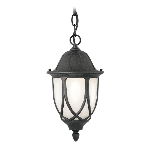 Designers Fountain Lighting Outdoor Hanging Light with White Glass in Black Finish 2864-BK