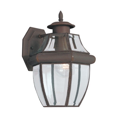 Sea Gull Lighting Outdoor Wall Light with Clear Glass in Antique Bronze Finish 8038-71