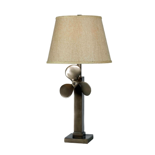 Kenroy Home Lighting Table Lamp with Beige / Cream Shade in Weathered Steel Finish 32129WS
