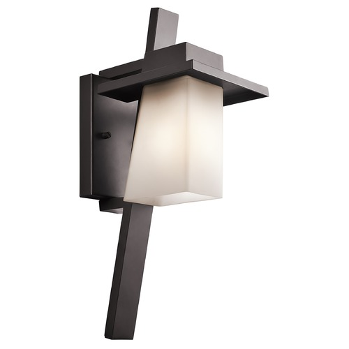 Kichler Lighting Kichler Outdoor Wall Light with White Glass in Bronze Finish 49257AZ