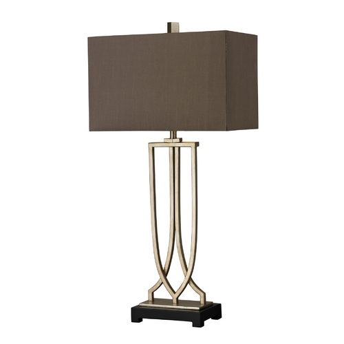 Dimond Lighting Table Lamp in Antique Silver Leaf Finish with Rectangle Shade D229