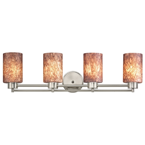 Design Classics Lighting Modern Bathroom Light with Brown Art Glass in Satin Nickel Finish 704-09 GL1016C