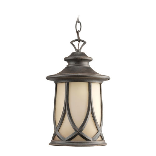 Progress Lighting Progress Outdoor Hanging Light with Brown Glass in Aged Copper Finish P6504-122