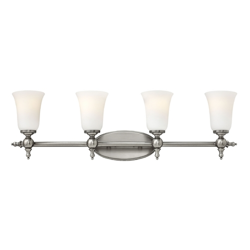 Hinkley Lighting Bathroom Light with White Glass in Antique Nickel Finish 5744AN