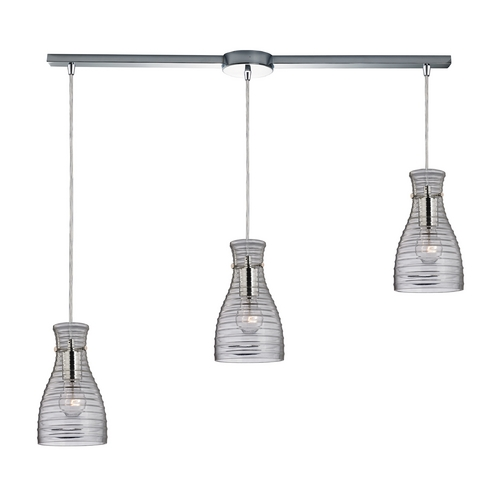 Elk Lighting Modern Multi-Light Pendant Light with Clear Glass and 3-Lights 46107/3L