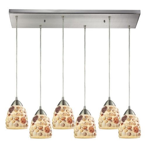 Elk Lighting Elk Lighting Shells Satin Nickel Multi-Light Pendant with Bowl / Dome Shade 10412/6RC