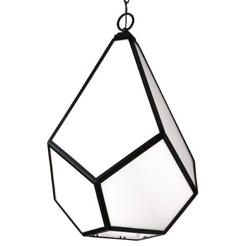 Feiss Lighting Feiss Lighting Diamond Black Pendant Light F3034/4BK
