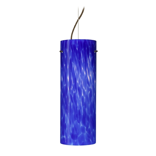 Besa Lighting Modern Pendant Light with Blue Glass in Bronze Finish 1KX-412886-BR