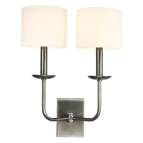 Hudson Valley Lighting Sconce Wall Light with White Shades in Antique Nickel Finish 1712-AN