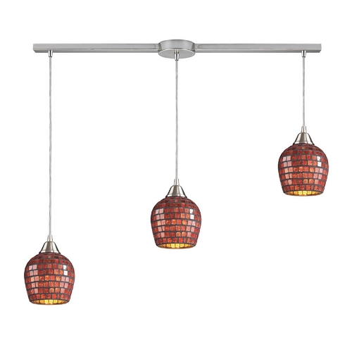 Elk Lighting Modern Multi-Light Pendant Light with Brown Glass and 3-Lights 528-3L-CPR