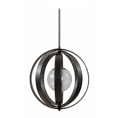 Uttermost Lighting Modern Pendant Light with Clear Glass in Matte Black Finish 21918