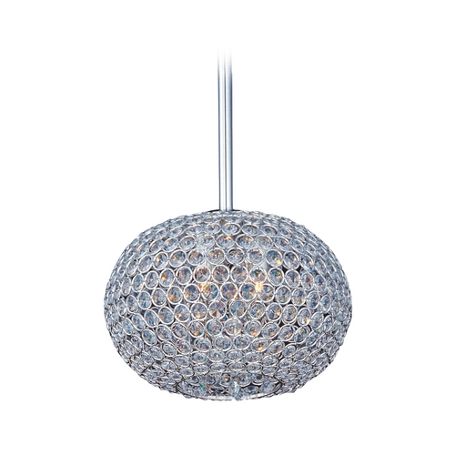 Maxim Lighting Maxim Lighting Glimmer Plated Silver Pendant Light with Oblong Shade 39877BCPS