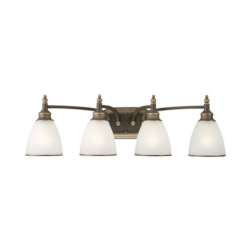 Sea Gull Lighting Bathroom Light with White Glass in Estate Bronze Finish 44352-708