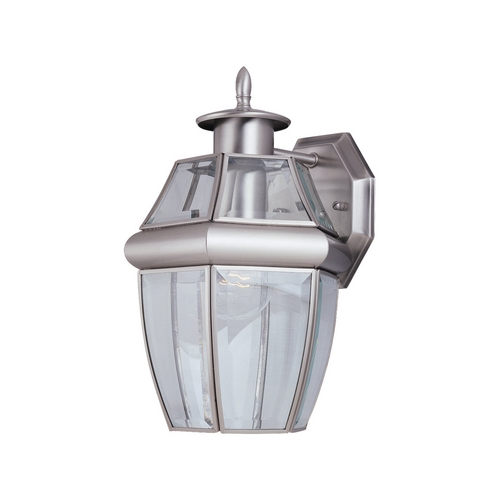 Sea Gull Lighting Outdoor Wall Light with Clear Glass in Antique Brushed Nickel Finish 8038-965