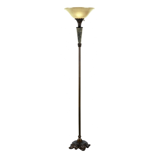 Kenroy Home Lighting Torchiere Lamp with Beige / Cream Glass in Metallic Bronze Finish 32130MBRZ