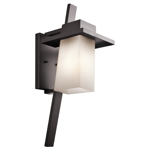 Kichler Lighting Kichler Outdoor Wall Light with White Glass in Bronze Finish 49258AZ
