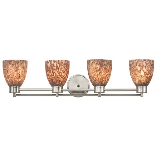 Design Classics Lighting Modern Bathroom Light with Brown Art Glass in Satin Nickel Finish 704-09 GL1016MB