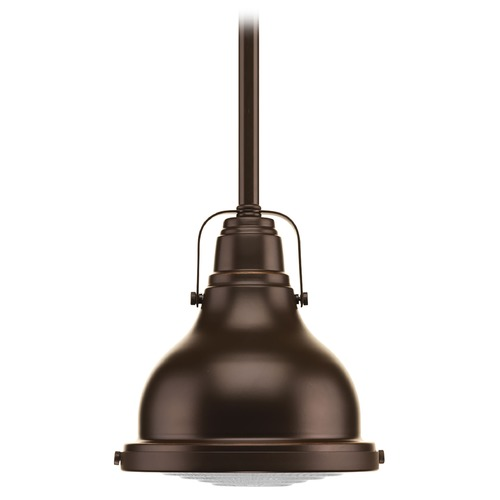 Progress Lighting Farmhouse Mini-Pendant Light Oil Rubbed Bronze Fresnel Lens by Progress Lighting P5050-108