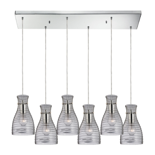 Elk Lighting Modern Multi-Light Pendant Light with Clear Glass and 6-Lights 46107/6RC