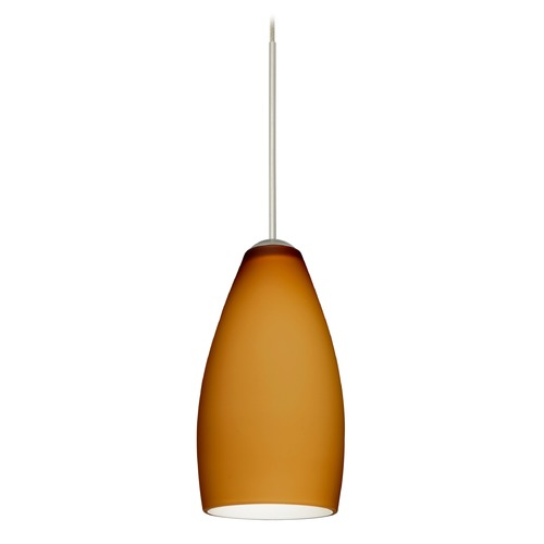 Besa Lighting Besa Lighting Karli Satin Nickel LED Mini-Pendant Light with Oblong Shade 1XT-719880-LED-SN