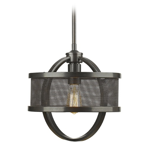 Golden Lighting Golden Lighting Colson Eb Etruscan Bronze Mini-Pendant Light with Drum Shade 3167-M1L EB-EB