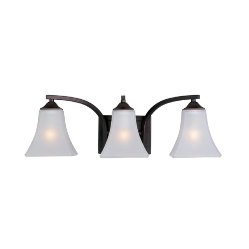 Maxim Lighting Modern Bathroom Light with White Glass in Oil Rubbed Bronze Finish 20100FTOI