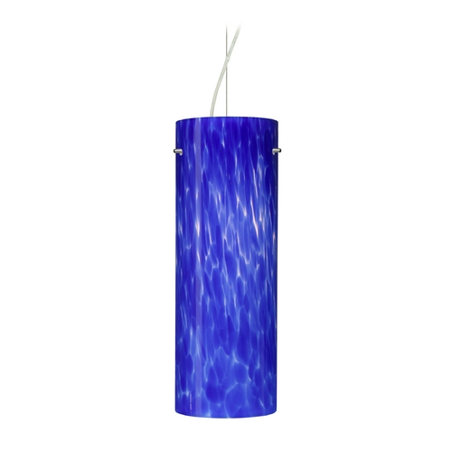 Besa Lighting Modern Pendant Light with Blue Glass in Satin Nickel Finish 1KX-412886-SN