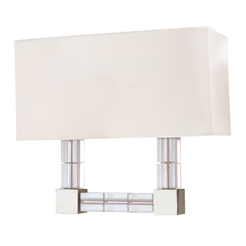 Hudson Valley Lighting Hudson Valley Vintage Crystal Sconce Light with White Shade 7102-PN