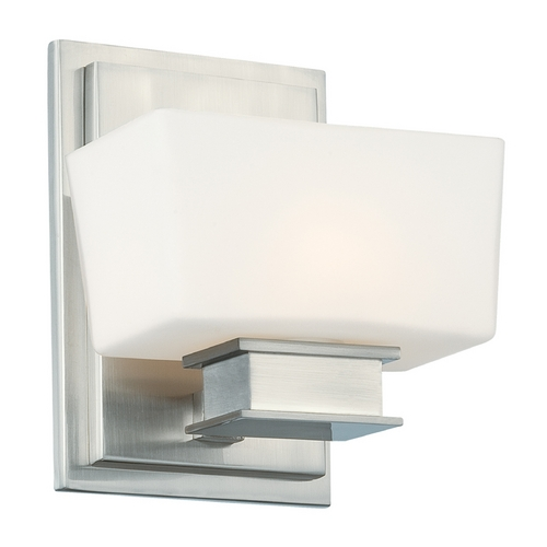 Designers Fountain Lighting Sconce Wall Light with White Glass in Satin Platinum Finish 6681-SP