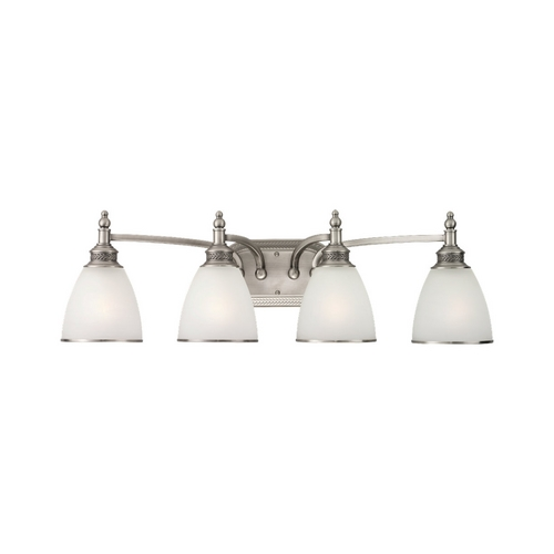 Sea Gull Lighting Bathroom Light with White Glass in Antique Brushed Nickel Finish 44352-965
