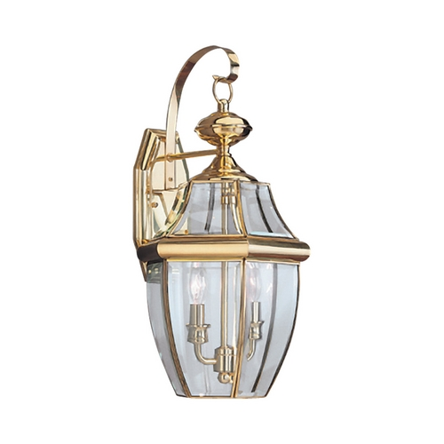 Sea Gull Lighting Outdoor Wall Light with Clear Glass in Polished Brass Finish 8039-02
