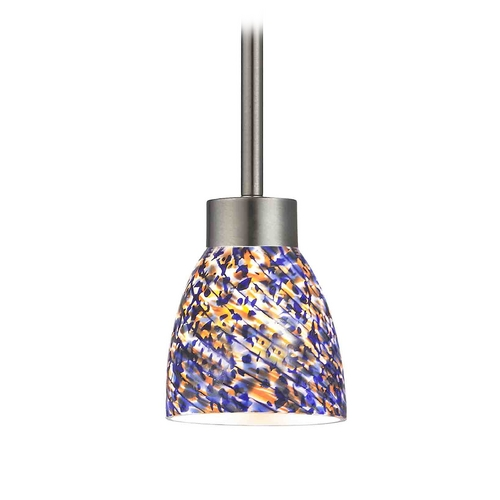 Design Classics Lighting Modern Mini-Pendant Light with Blue Glass 1123-1-09 GL1009MB