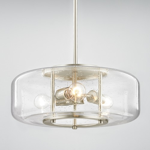 Modern Seeded Glass Pendant Light With 3 Lights Satin