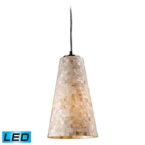 Elk Lighting Elk Lighting Capri Satin Nickel LED Mini-Pendant Light with Conical Shade 10142/1-LED