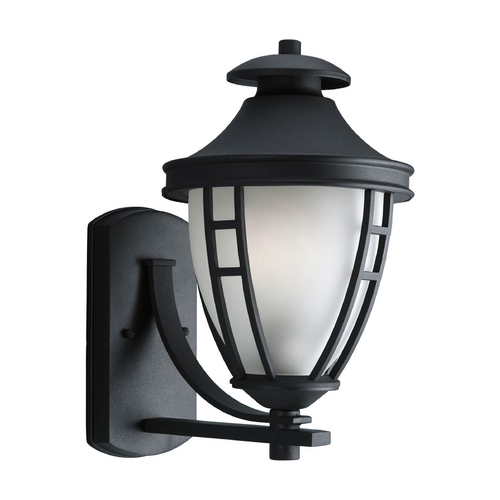 Progress Lighting Progress Outdoor Wall Light with White Glass in Textured Black Finish P5778-31
