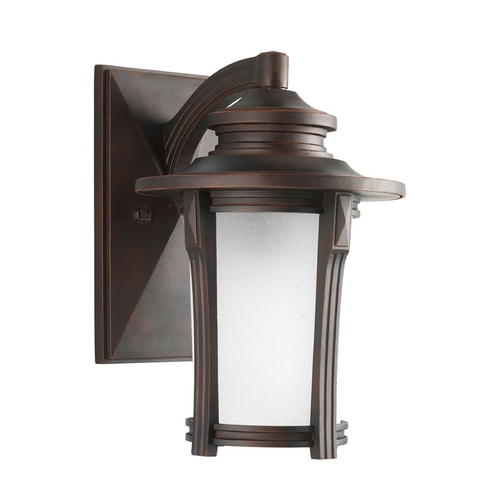 Progress Lighting Etched Seeded Glass Outdoor Wall Light Bronze Progress Lighting P5981-97